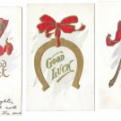 Good Luck Postcards Wishbone Horseshoe Rabbits Foot Red Bow Embossed Gold Lot of 3