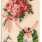 Good Luck Greetings Bouquet of Roses Ivy Horseshoe Embossed Vintage Postcard