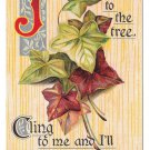 Motto Poem Just as the Ivy to the Tree Cling to Me Vintage Postcard Silver gilt