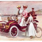 Edwardian Women Riding in Automobile A Seaside Run Vintage Postcard