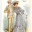 Romance Edwardian Couple Loves Dream Startled Vntg Postcard 1907