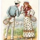 Romance Couple Tennis Loves First Token Vintage 1907 Embossed Postcard