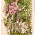 Romance Valentine Lovers Couple Cupid on Tree Branch Gilded 1908 Postcard