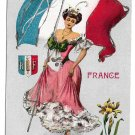 G Howard Hilder France World Countries Series Platinachrome Lady w French Flag Glitter