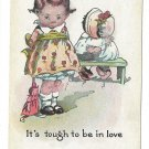 It's Tough to be in Love Comical Kids Postcard  Litle Girl w Doll Comic Children