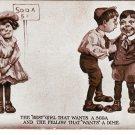 Comic Children Sheahan's 1908 Postcard Best Girl Wants Soda Fellow Wants Dime