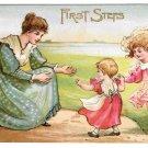 First Steps Mother Child Walking Girl Vintage Embossed Postcard