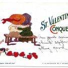 St Valentine Conqueror Vintage 1907 F Derbes Postcard Cupid Couple Hearts