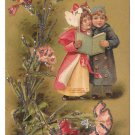Children Singing Sharing Song Book Vintage Flowers with Glitter Added Postcard