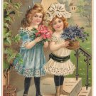 To My Sweetheart Two Pretty Girls Vntg Gilded 1907 Embossed Valentine Postcard