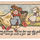Dutch Kids Wooden Shoe Car Boy Vit Autobile vat vont go undt girl vat vill T P Co Postcard