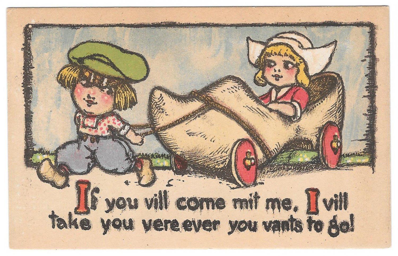 Dutch Kids Boy Pulling Wooden Shoe Car If you vill come mit me Postcard