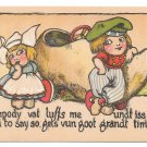 Dutch Kids Wooden Shoe Car Boy Flirting with Girl Sumpody vat luffs me Vintage Postcard