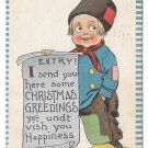 Dutch Kid  Boy with Christmas Greeting Scroll EXTRY Samson Bros Postcard