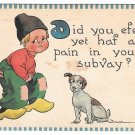 Bernard Wall Dutch Kid Boy Puppy Dog Vintage 1912 Samson Bros Postcard