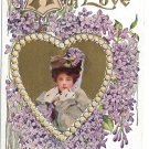Beautiful Woman in Heart Valentine A Gift of Love Vintage Embossed Gold Gilt Postcard