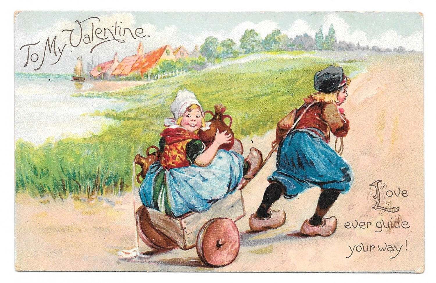 Tuck Valentine Dutch Boy Pulling Girl Carrying Jugs in Cart Vintage UDB Postcard