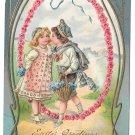 Easter Greetings Boy Kissing Girl Children Embossed Gold Gilt Postcard 1908