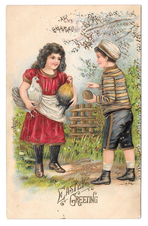 Vintage Easter Greetings Boy Girl Chickens Hens Embossed Gold Gilt ASB Postcard