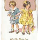 Best Wishes Children Girl and Boy Vintage Embossed Gold Gilt Postcard