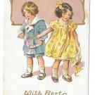 Best Wishes Children Girl and Boy Vintage Embossed Gold Gilt Postcard