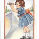 Looking for a Nice Young Man Little Girl with Binoculars Vintage Postcard Whitney Made