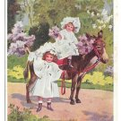 Kind Remembrance Children Lilacs Pretty Girls Mule or Donkey Vintage 1908 Postcard