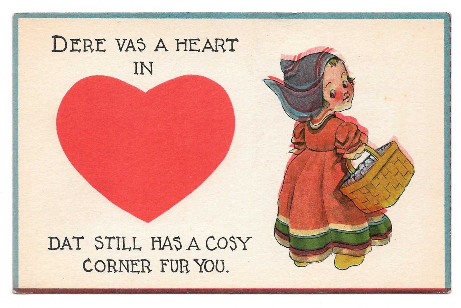 Vintage Valentine Postcard Dutch Kids Heart Dat Still Has a Cosy Corner For You