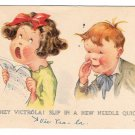 Twelvetrees Artist Signed Children Girl Singing Hey Victrola Vntg Smile Messengers Postcard