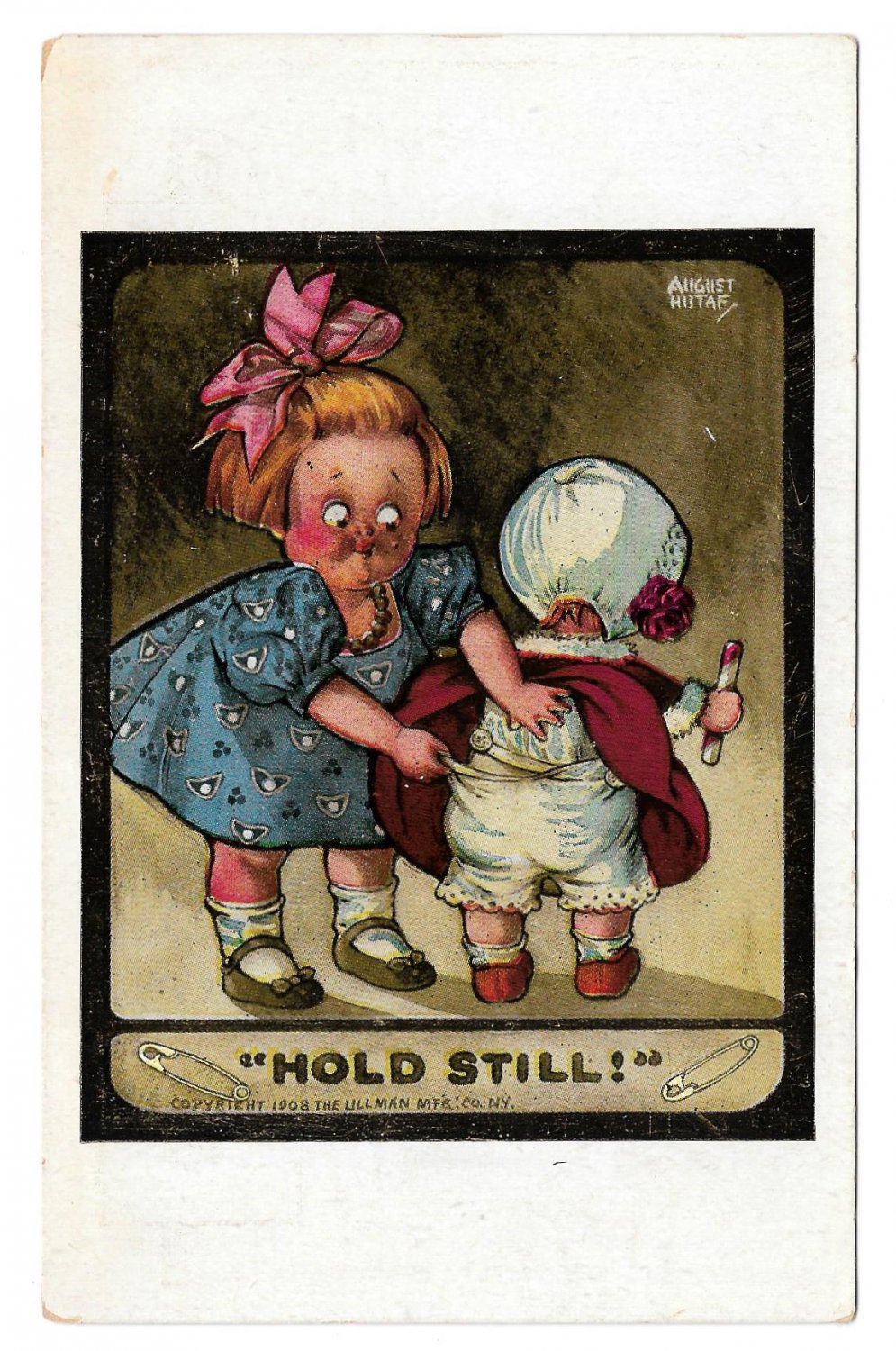 August Hutaf Hold Still LIttle Girl Fixing Baby's Pants Artist Signed Postcard Ullman