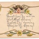 HB Griggs Easter Art Nouveaul Woman Daffodils Poem Vintage Embossed HBG Postcard
