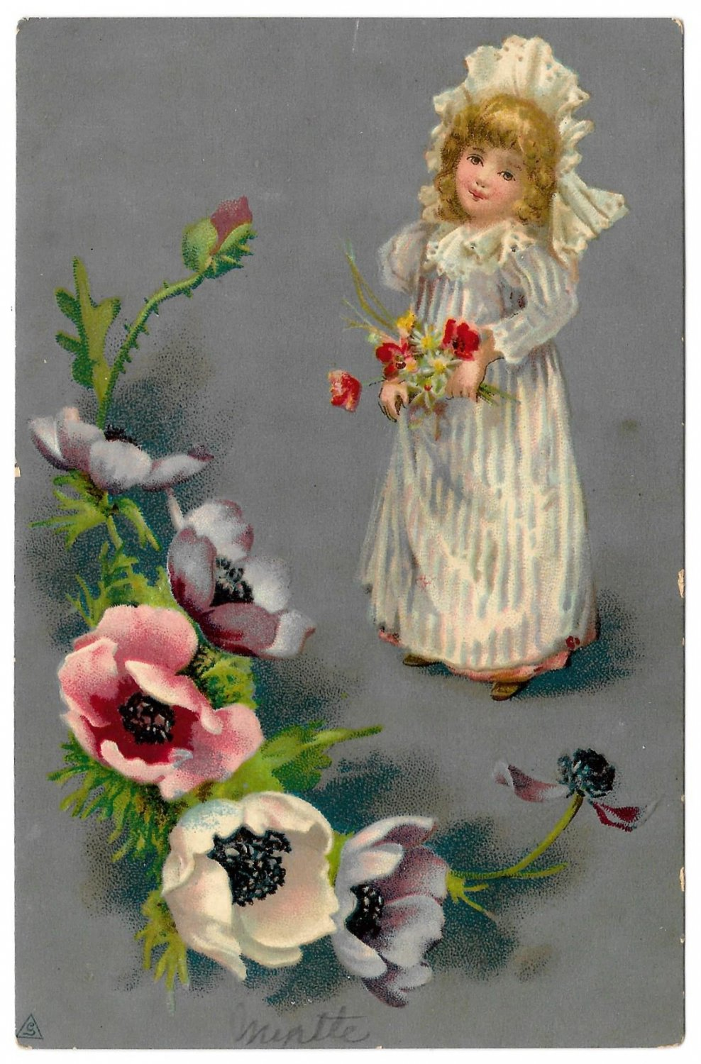 Little Girl in Nightdress and Cap with Poppies Vintage Embossed Postcard
