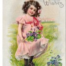Best Wishes Pretty Girl Pink Dress Violets  Embossed United Art Vintage Postcard