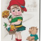 German Novelty Postcard Mechanical Add On Moving Eyes Girl w Basket and Dog