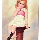 Penitence Sad Girl One Bare Foot Sitting On Pedestal Vintage Postcard