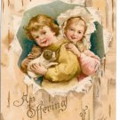 Children Girl Boy w Puppy Dog Offering Friendship Vintage Embossed 1909 Postcard