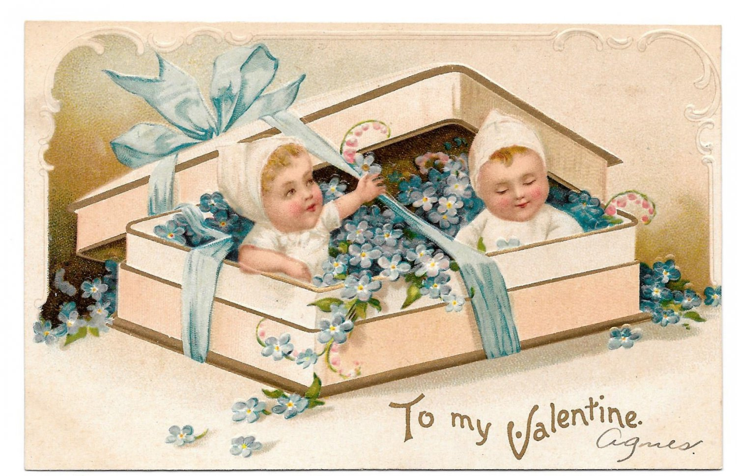 Vintage Embossed IAP Postcard Valentine Children in Candy Box Forget Me Nots