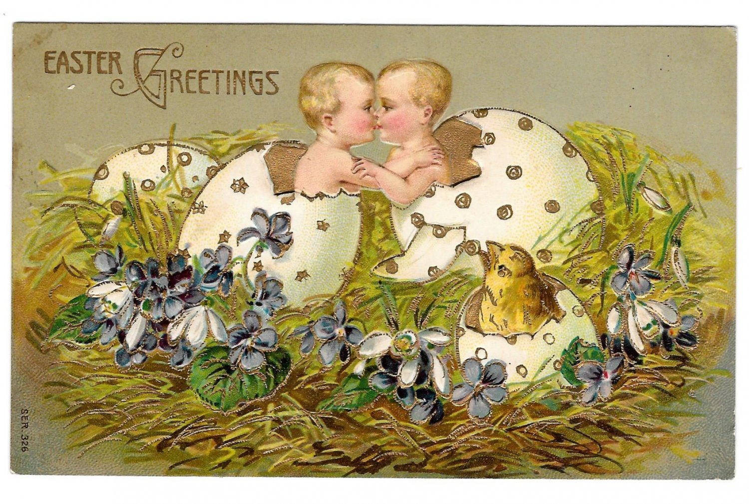 Easter Babies Chick Hatching from Eggs Kissing Embossed Postcard Gold Gilt