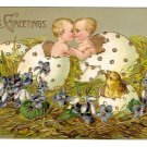 Easter Babies Chick Hatching from Eggs Kissing Embossed Postcard Gilt