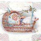 Baby Child Little Girl in Swinging Wicker Basket Plain Back Chromo Litho