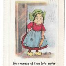 Vintage Postcard Dutch Girl Rolling Pin Course of True Lofe Anglo Kid Series Artist Signed