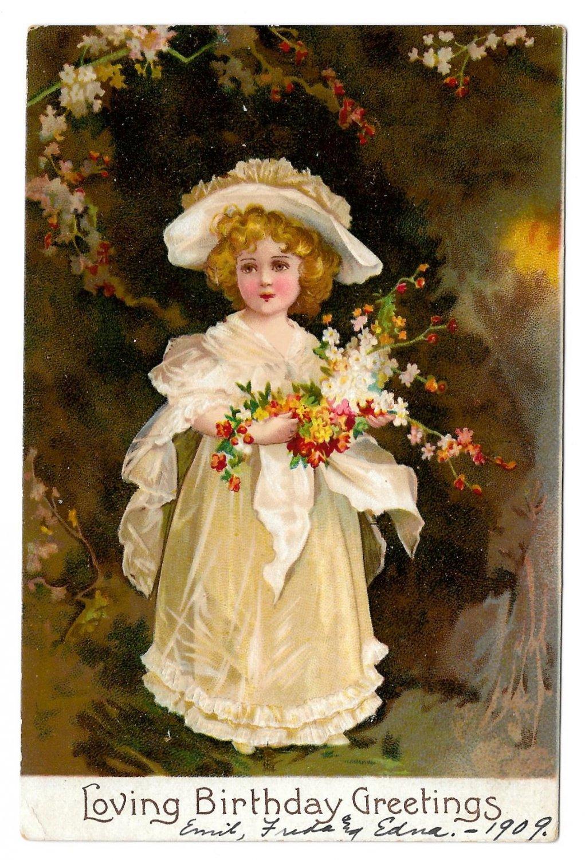 Loving Birthday Greetings Edwardian Girl in White w Flowers Vintage IAP Embossed Postcard