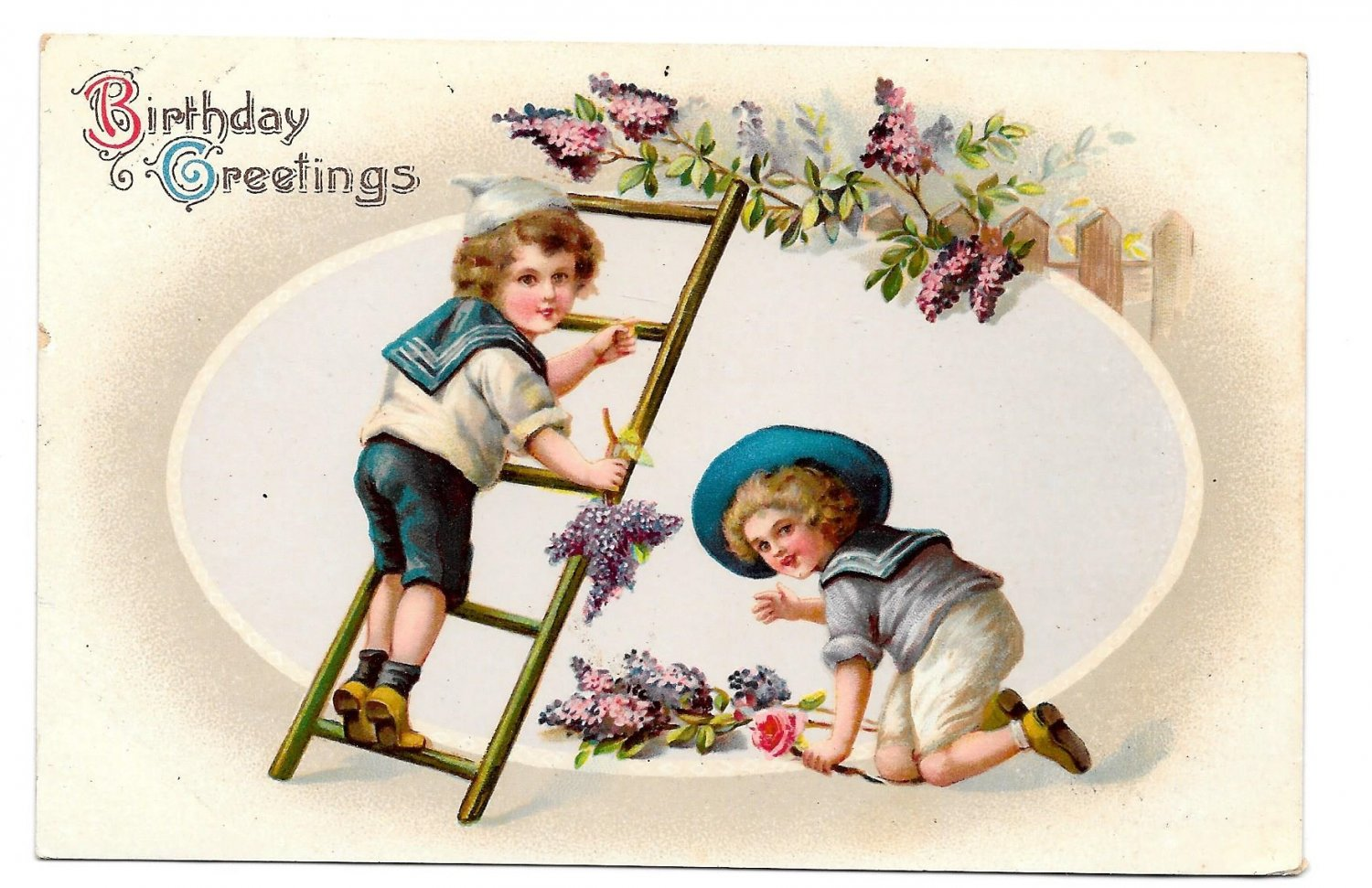 Birthday Greetings Boys in Victorian Sailor Suits Picking Grapes Vntg 1913 Postcard