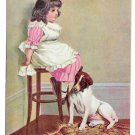 Vintage Postcard In Disgrace Little Girl and Dog in Corner Broken China on Floor