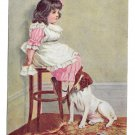 In Disgrace 1907 Postcard Little Girl with Dog Sitting in Corner Broken Vase