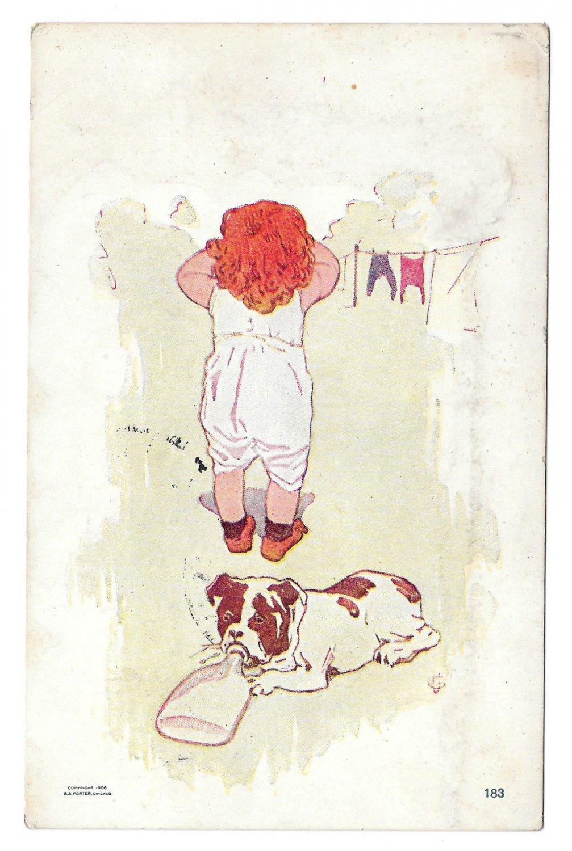 Little Girl Hanging Laundry Dog Drinking from Bottle 1906 Humour Postcard S S Porter