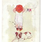 Little Girl Hanging Laundry Dog Drinking from Bottle 1906 Humour Postcard S S Porter