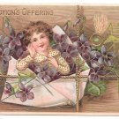Child in Envelope Affections Offering Forget Me Nots Embossed Gilt Postcard