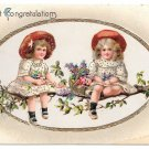 Girls on Branch Heartiest Congratulations Basket of Flowers 1913 Gilt Postcard