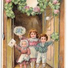 Best Wishes Children Girl Boy Shamrocks Flowers 1908 Silver Gilt Embossed Postcard